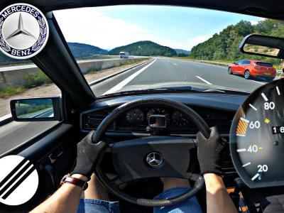 Une Mercedes 190D avec son 2.0 Diesel de 72 ch est poussée à 180 km/h