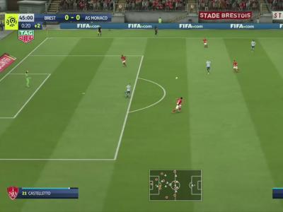 Stade Brestois - AS Monaco sur FIFA 20 : résumé et buts (L1 - 32e journée)