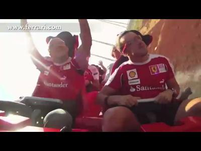 Fernand Alonso et Felipe Massa à bord du Ferrari Rosso
