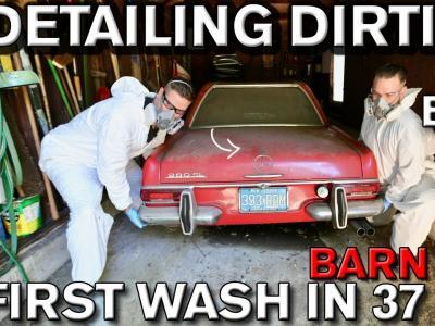 Le nettoyage complet d'une Mercedes 280 SL immobilisée depuis 40 ans en vidéo