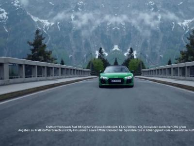 L'Audi R8 V10 Spyder Plus fait parler la poudre en montagne