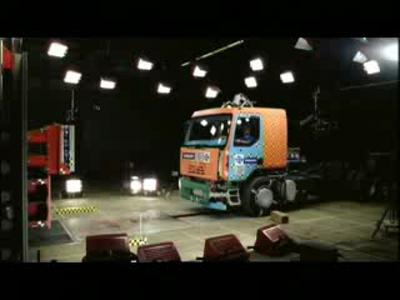 Crash testing of Volvo trucks