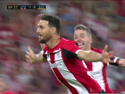 Athletic Bilbao - Barça : la reprise de volée acrobatique d'Aduriz en vidéo !