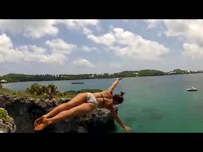 Sexy Girls Cliff Jumping