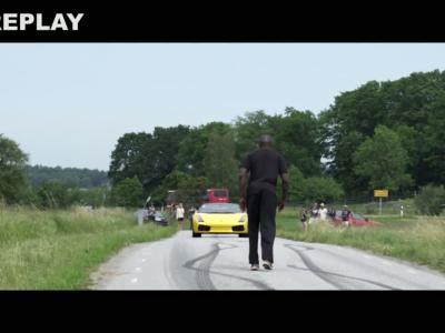 Il saute au dessus d'une Lamborghini