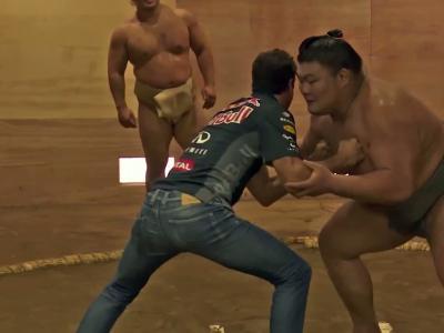 Quand les pilotes Red Bull affrontent des sumos...