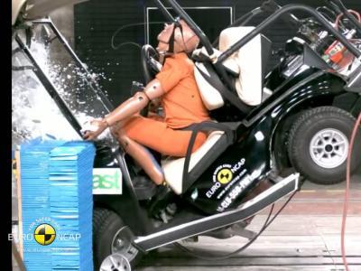 Crash-test : une voiturette de golf projetée à 50 km/h