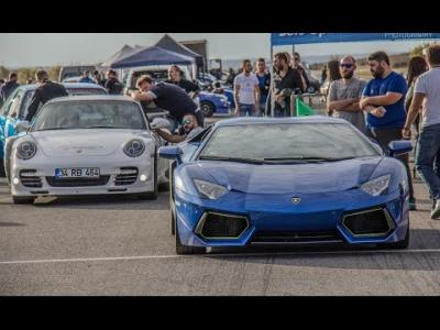 Duel d'accélération entre une Porsche 911 Turbo et une Lamborghini Aventador