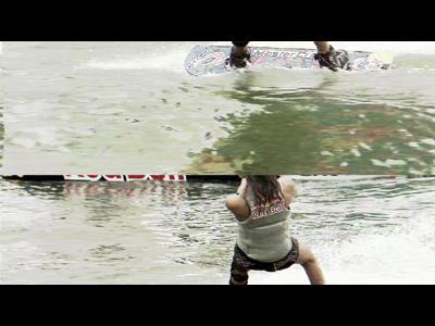 Wakeboard trainé par un catamaran