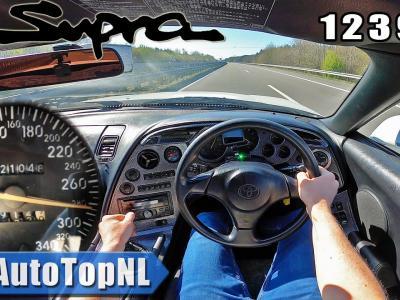La Toyota Supra poussé à presque 300 km/h sur l'autoroute