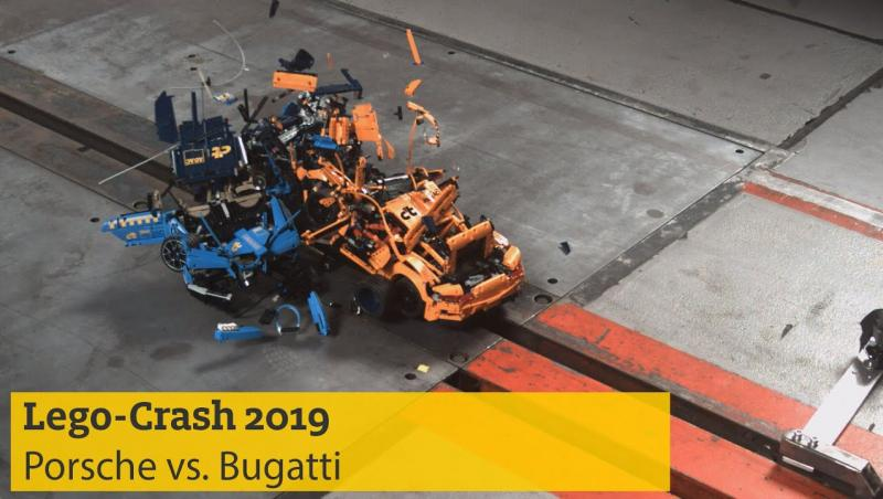 Crash-test entre une Porsche 911 GT3 RS et une Bugatti Chiron en Lego par l'ADAC