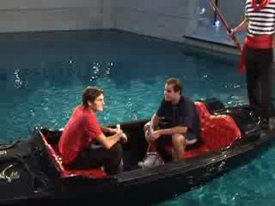 Roger Federer et Pete Sampras en gondole