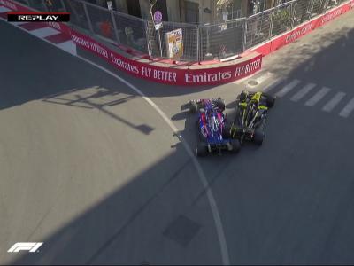GP d'Azerbaïdjan : l'accident gag de Ricciardo qui percute Kvyat en reculant