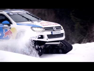 Le Volkswagen Snowareg en action au dernier rallye de Suède