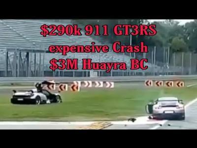 Crash entre une Pagani Huayra et une Porsche 911 GT2 RS à Monza