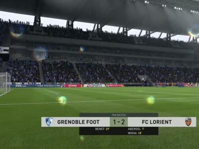 Grenoble Foot 38 - FC Lorient sur FIFA 20 : résumé et buts (L2 - 34e journée)