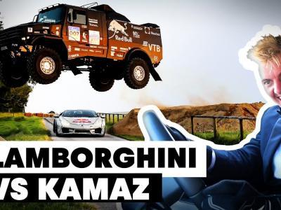 Un camion de course Kamaz saute au-dessus d'une Lamborghini en drift !