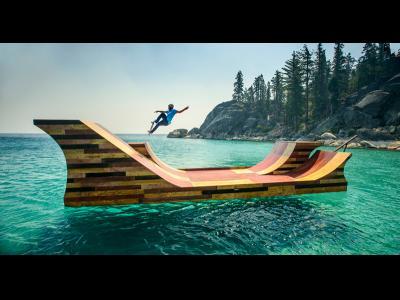 Du skateboard sur un lac