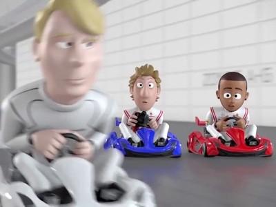 Une course de karting avec les pilotes McLaren en dessin animé