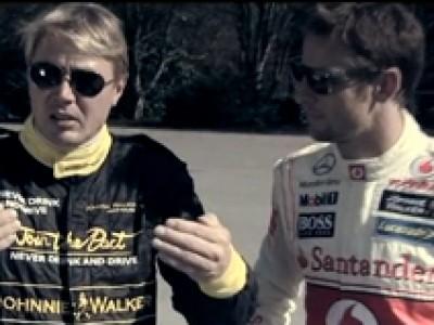 Hakkinen et Button en campagne de sécurité routière