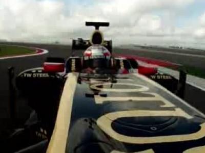 Une Lotus Renault a roulé sur le circuit d'Austin